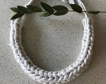 Handmade knitted necklace (Glittering Silver) - eco friendly / recycled T-shirt yarn / clean / simple / modern / contemporary