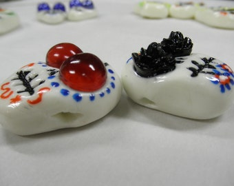 Handmade Day Of The Dead Cold Porcelain Clay Beads