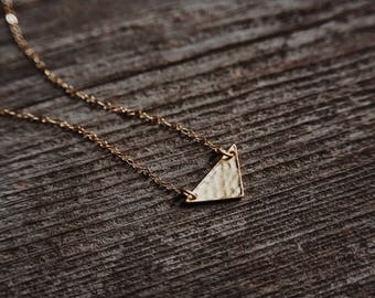 minimalist hammered triangle geometric gold filled necklace