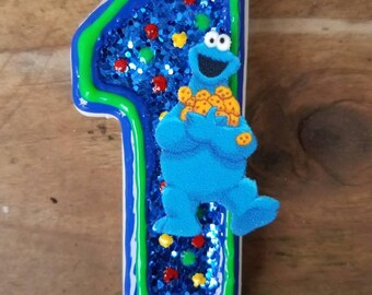 Cookie Monster Birthday candle, Sesame Street Birthday Candle