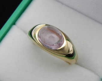 AAA Pink Tourmaline cabochon   9x7mm  2.66 Carats   14k yellow gold ring  8 grams 0143 y