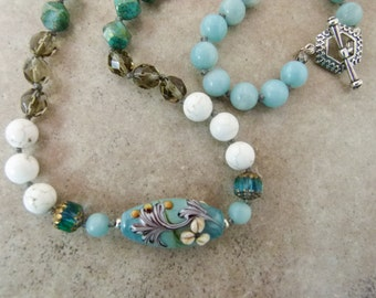 """Hand-knotted Bead Necklace, """"Belle Fleur,"""" - Lampwork Flower Bead with Amazonite, Howlite, and Glass Beads - Item 1557"""