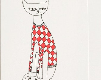 Red kitty Drawing Ink - Original Drawing - Free Shipping -Ink Illustration - Aceo
