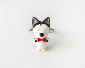 Mika the husky Bow tie ring