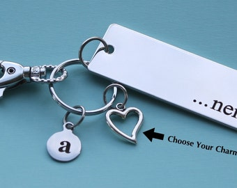Personalized Nerd Key Chain Stainless Steel Customized with Your Charm & Initial -K312