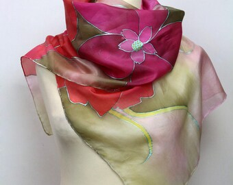 Hand painted silk scarf. Pink floral silk scarf. Silk foulard. Luxury gift for her. Wearable art made to order