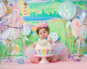 Pastel Rainbow Birthday Dress | Rainbow Tutu | Candyland Birthday Dresses | Unicorn Birthday, Baby Girls 1st Birthday | Cake Smash Dress
