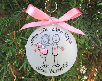 Personalized New baby,Family Christmas ornament, mommy and daddy,New parents, family ornament,pregnancy ornament,baby shower,