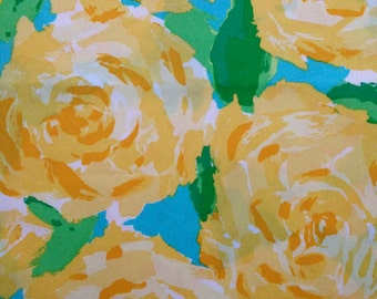 """sunglow yellow first impression poplin cotton fabric square 18""""x18"""" ~ lilly pulitzer"""