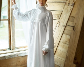 Victorian Winter - long cotton women's night gown, vintage inspired, victorian nightgown, vintage nightgown, available organic cotton