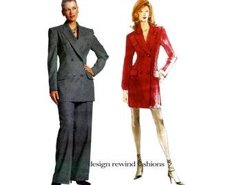 ALEXANDER McQUEEN GIVENCHY Vogue 2183 Paris Original Double Breasted Jacket Pants Dress Suit Pattern Size 6 8 10 UNCuT Womens Sewing Pattern