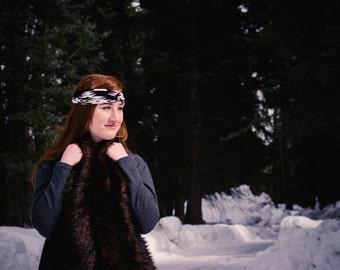Grizzly Bear Scarf, Faux Fur, Mountain Style, Fur, Wrap, Gift