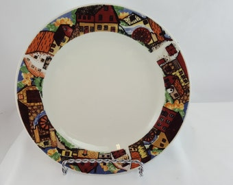 "Vintage Gibson Housewares Bread/Salad Plate Farm & Country Scene 7.5"" Diameter"