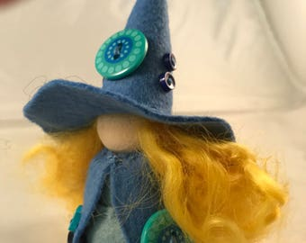 Button Embellished Wool Felt Witch, Peg Doll Witch, Waldorf Inspired, One of a Kind, Miniature Witch, Art Doll