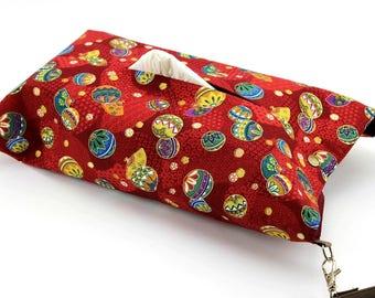 Bathroom decor, Housewarming gift, Tissue box cover, Mari-Balls Red