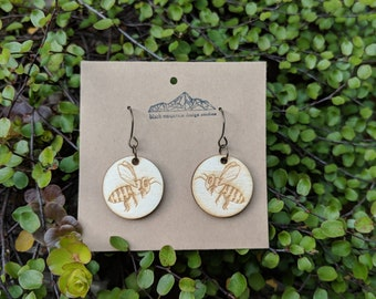 Honeybee Hypoallergenic Laser Cut Wood and Niobium Earrings; Perfect Gift for Any Beekeeper or Special Honey in Your Life.