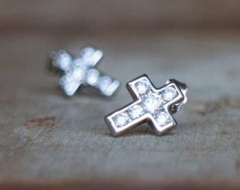 Cross Earrings, Silver Stud Earrings, Gift for Him, 925 Sterling Silver Post Earrings, Gift for Men, Dainty Earrings, Minimalist Jewelry