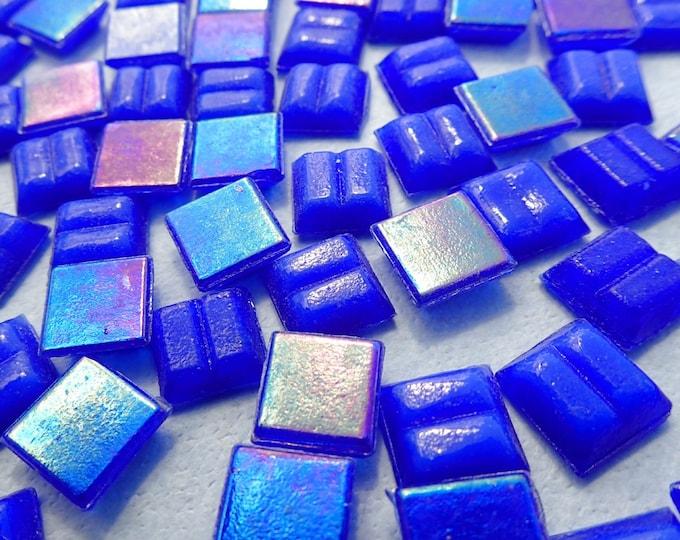 Blue Iridescent Venetian Glass Tiles - 1 cm - Approx 3/8 inch - Mosaic Tiles - 100 grams - 10mmx10mmx4mm Mini Mosaic Tiles