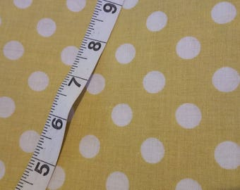 Muted Yellow and White Polka Dot Cotton Fabric 1 Yard