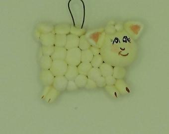 Sheep Ornament,Lamb Ornament, White Sheep, Hand Painted Lamb Ornament,Clay Sheep Ornament,Lamb Keepsake,Sheep Christmas Ornament,Farm