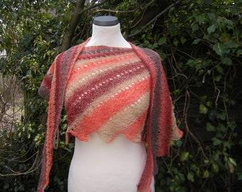 Shawl, wrap, hand knit, stole, scarf, Faecherschal, beige, red, rust, brown