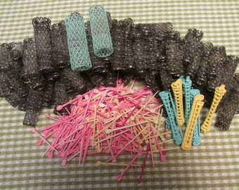 Vintage Lot Mesh and Bristles Hair Curlers, Pins, and Perm Rods Retro Rollers