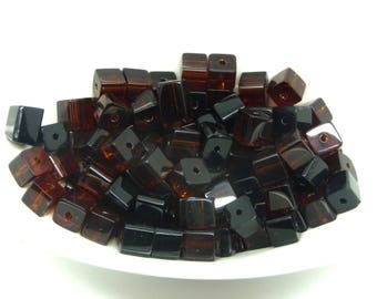 Brown cube glass 6mm 10 beads