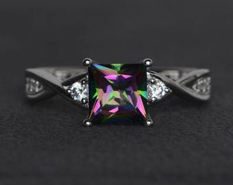 mystic topaz ring princess cut rainbow topaz ring sterling silver ring gemstone ring wedding engagement ring