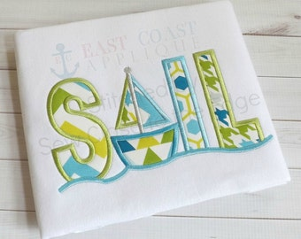 Sail with Sailboat - Appliqued and Personalized T-shirt
