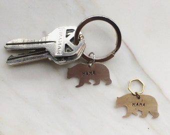 Mama Bear Key Tag // Brass or Sterling