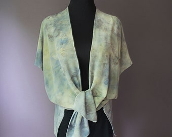 Silk Crepe de Chine Jacket, Hand-dyed, Plant-dyed with Tansy and Blue Potatoes, No chemical dyes or mordants