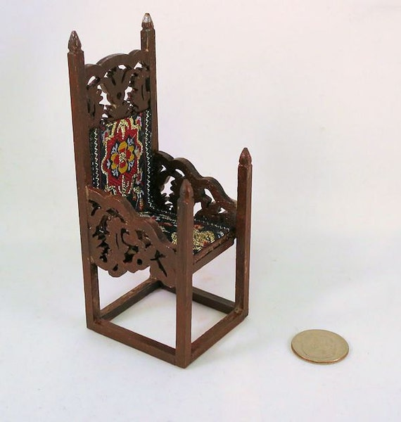 Tudor Gothic Tall Wooden Chair Carved Arms And Back Red Gold