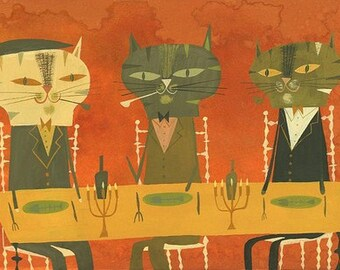 Dinner with Maurice. Limited edition print by Matte Stephens.
