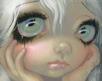 Faces of Faery 195 white blonde big eye fairy face art print by Jasmine Becket-Griffith 6x6