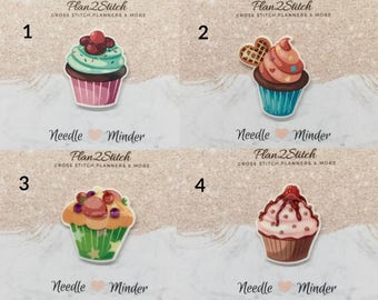 Scrumptious Cupcakes (2/5) Needleminder/Magnet for Cross Stitch/Embroidery