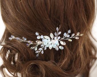 Bridal hair piece Blue hair comb Something blue Wedding Flower haircomb Blue hair clip Crystal headpiece Rainbow hairpiece