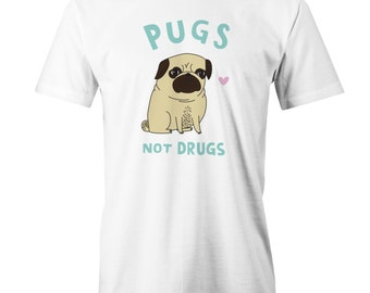 Pugs Not Drugs T-Shirt Tee Funny Dog Pug Lovers Puppy Adorable Cute