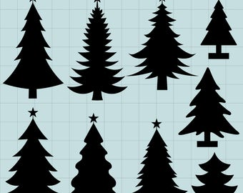 Pine Tree Clipart, Pine Tree Silhouettes Clipart, Christmas Tree Clipart, Pine Tree SVG, Digital Clipart Tree, Instant Download