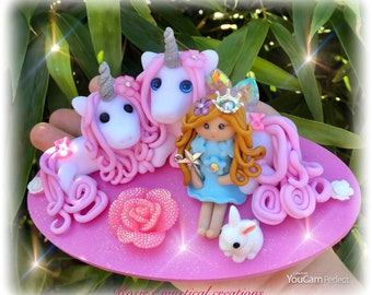 Polymer clay unicorn and fairy scene