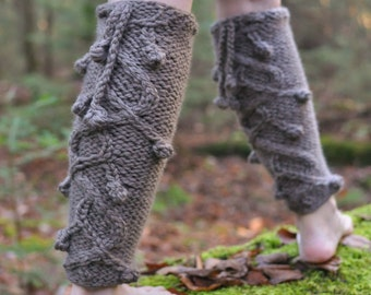 Hand knit legwear long leg warmers chunky gaiters texture cable boot cuffs spats boot cover in taupe or Choose Your Color