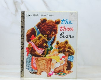 Vintage Three Little Bears, 1981, Little Golden Book, Goldilocks, Bedtime Story, Porrige, Bears Breakfast, Papa Bear, Mama Bear, Baby Bear