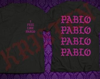 I Feel Like Pablo Black Shirt Purple Text