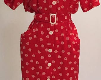 1990s Day Dress - Red with White Swirls - Shoulder Pads - Hip Pockets - Work School - Fun Pattern Dress - Blousey Top - Up to 40 Bust