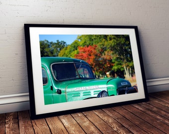 truck, vintage, antique, classic car, connors farm, danvers, massachusetts, new england, fall foliage, photography, fine art print