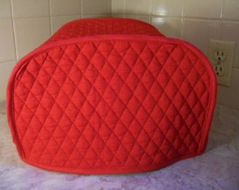 Red 2 Slice Toaster Cover Quilted Fabric Dust Cover Small Appliance Cover Ready to Ship