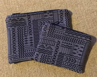 Zipper Pouch Set of 2, Coin pouch,  blue embossed tribal print,, handmade