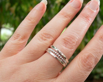 Stacking Ring Set of 3 - Recycled Sterling Silver Rings - Hammered, Forged and Bead Wire Stacked Rings - Silver Womens Rings Made to Order