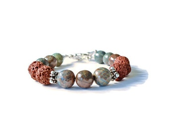 Flower Agate Aromatherapy Bracelet with Natural Lava Stones, Essential Oil Diffuser Beads