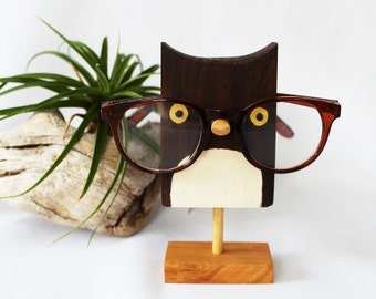 Owl Eyeglass Stand   Glasses Holder An Adorable Gift For Birders (Wood Base)