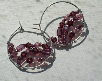 Purple Crystals and Glass Beads Wire Wrapped Silver Hoop Earrings by hipknitta